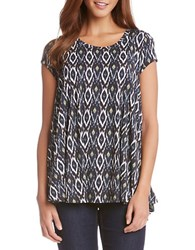Karen Kane Keyhole Back Swing Tee Green Multi