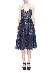 Self Portrait 'Azaelea' Floral Lace Spaghetti Strap Dress Blue