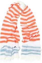 Lemlem Ishi Striped Cotton Blend Scarf Orange