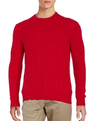 Black Brown Cashmere Cable Knit Sweater Bright Red