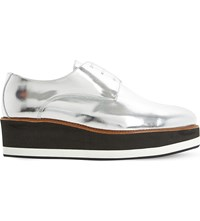 Dune Factor Metallic Leather Flatform Oxford Shoes Silver Metallic