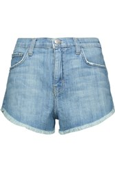 Current Elliott The Gam Frayed Denim Shorts Light Denim