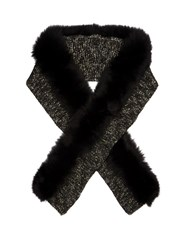Moncler Fur Trimmed Wool Blend Scarf Black Multi