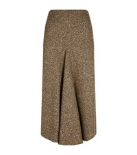 Victoria Beckham Pleated Tweed Skirt Female Brown