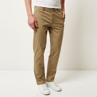 River Island Menslight Brown Stretch Slim Chino Pants