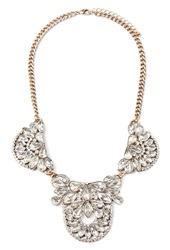 Forever 21 Faux Gem Statement Necklace Antic Gold Clear