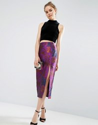 Asos Premium Pencil Skirt With Split In Floral Jacquard Purple