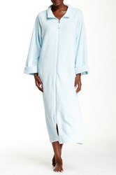 Casual Moments Zip Front Needle Out Trim Robe Blue