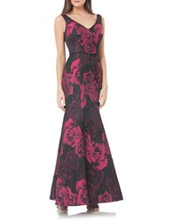 Js Collections Rosette Print Crushed Effect Mermaid Gown Black Rose