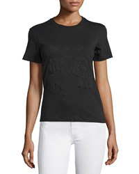 Msgm Short Sleeve Stretch Logo Tee Black Size Small