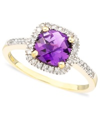 Macy's Cushion Cut Amethyst In 10K Gold 1 Ct. T.W. And Diamond Ring In 10K Gold 1 10 Ct. T.W.