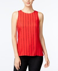 Kensie Striped Sleeveless Top Red Combo