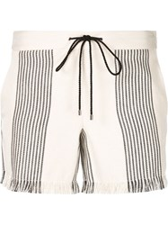 Derek Lam Frayed Drawstring Shorts White