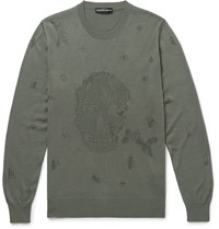 Alexander Mcqueen Slim Fit Distressed Wool And Cotton Blend Sweater Green
