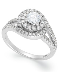 Macy's Diamond Swirl Ring In 14K White Gold 1 Ct. T.W.