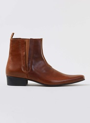 Topman Tan Leather Pointed Zip Boots Brown