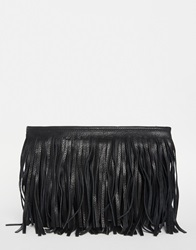 Pieces Cross Body Bag With Leather Fringing Black