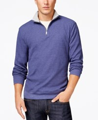 Club Room Big And Tall Thermal Quarter Zip Pullover Chambray Blue