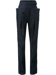 J.W.Anderson J.W. Anderson Pleated Straight Leg Jeans Blue