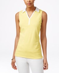 Charter Club Sleeveless Polo Shirt Only At Macy's Sun Yellow