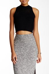 Blvd Cropped Sleeveless Knit Blouse Black