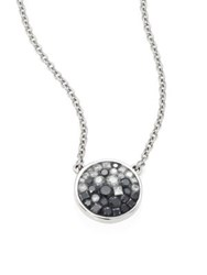 Plev Ombre Diamond And 18K White Gold Pendant Necklace Blue Sapphire