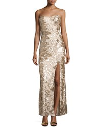 Marina Floral Sequin Strapless Gown Gold