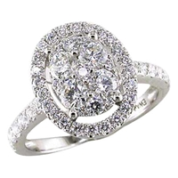 Ewa 18Ct White Gold 1.30Ct Oval Diamond Cluster Ring Size N