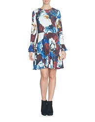 Cece Rose Gala Bell Sleeve Fit And Flare Dress Multi Colored