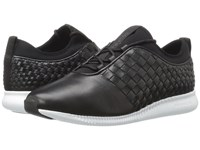 Cole Haan 2.0 Studiogrand Weave Trainer Black Leather Neoprene Optic White Women's Shoes