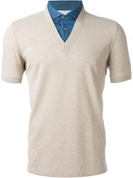 Brunello Cucinelli V Neck Polo Shirt Nude And Neutrals