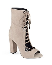 Kendall And Kylie Ella Lace Up Peep Toe Booties Natural