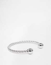 Asos Twisted Bangle In Silver Finish