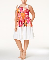Calvin Klein Plus Size Printed A Line Dress Pink White