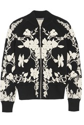 Alexander Mcqueen Floral Intarsia Stretch Knit Bomber Jacket