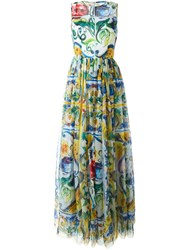 Dolce And Gabbana Majolica Print Evening Dress Multicolour