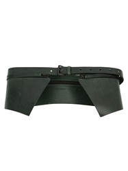 Ann Demeulemeester Zip Detail Wide Belt Green