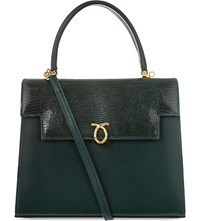 Launer Traviata Leather Tote Dark Green