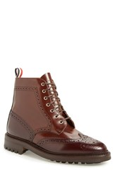 Thom Browne Men's Classic Wingtip Boot Dark Brown Leather