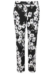 Erdem Gianna Floral Print Crepe Trousers Black And White