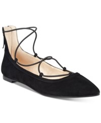 Inc International Concepts Women's Zachh Lace Up Flats Only At Macy's Women's Shoes Black Suede