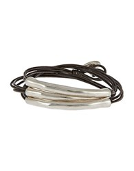 Uno De 50 Metal And Leather Bracelet Brown
