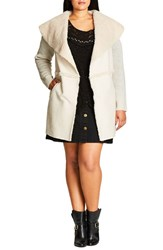City Chic Plus Size Women's Faux Shearling Front Cardigan Stone