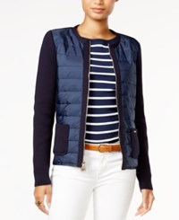 Tommy Hilfiger Quilted Contrast Cardigan Only At Macy's Midnight