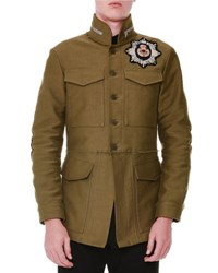 Alexander Mcqueen Cotton Beaded Embroidery Jacket Military Green