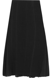 Donna Karan New York Chiffon Paneled Wool Blend Skirt Black