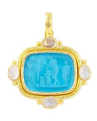 Pan Picnic Antique 19K Gold Intaglio Pendant Blue Elizabeth Locke Gold Blue