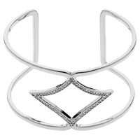Melissa Odabash Plated Crystal Open Cuff Silver