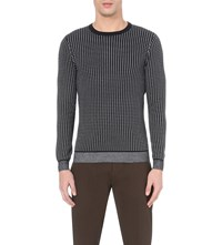 Reiss Audit Checked Cotton Blend Jumper Navy