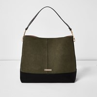 River Island Womens Khaki Green Contrast Panel Slouch Bag